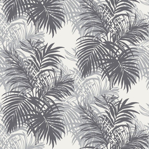 Charcoal and Ivory Tropical Leaves