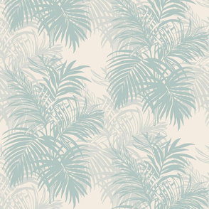 Light Teal and Ivory Tropical Leaves