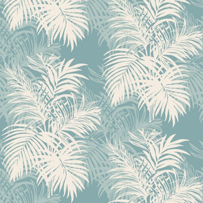 Teal Tropical Leaves