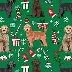 doodle dogs christmas fabric - doodle xmas, doodle christmas, golden doodle dog