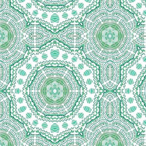 "Lace Mandela ""Downward Striations""  aqua,green,grey,white-kaleidoscope"
