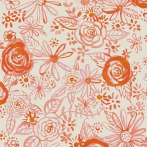 Stamped Watercolor Floral // Burnt Orange