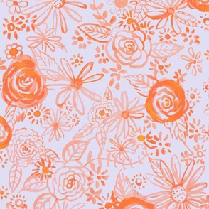 Stamped Watercolor Floral // Orange and Lt Violet