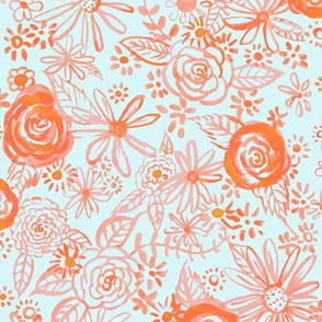 Stamped Watercolor Floral // Orange and Lt Mint