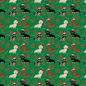 doxie gingerbread fabric - dog holiday baking fabric, santa paws fabric, cute dog christmas fabric - green
