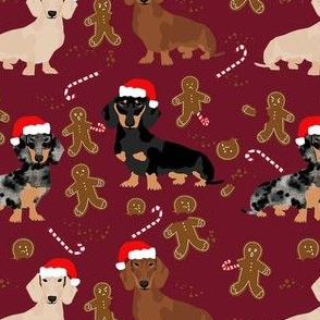 doxie gingerbread fabric - dog holiday baking fabric, santa paws fabric, cute dog christmas fabric - burgundy