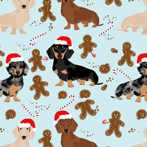 doxie gingerbread fabric - dog holiday baking fabric, santa paws fabric, cute dog christmas fabric - light blue