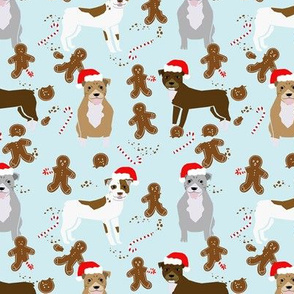 pitbull gingerbread fabric - dog holiday baking fabric, santa paws fabric, cute dog christmas fabric -  light blue