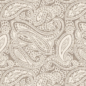 Brown and Ivory Packed Paisley