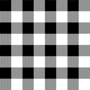 "1 "" buffalo plaid fabric - black and white checks, bw checks, black and white tartan, black and white plaid fabric"