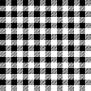 "1/2 "" buffalo plaid fabric - black and white checks, bw checks, black and white tartan, black and white plaid fabric"