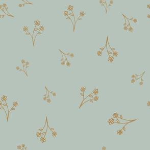 simple collection posie mustard on minty blue