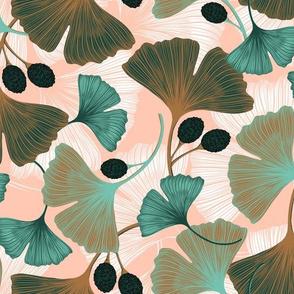 Ginkgo Leaves - Medium Spring Rose & Spearmint