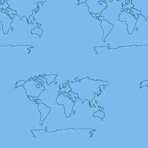 world map light blue  -MED 675