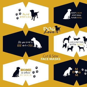 Dog Love Face Masks Cut and Sew panel