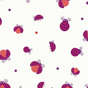 Messy purple ladybugs walking and flying with red and purple dots seamless pattern