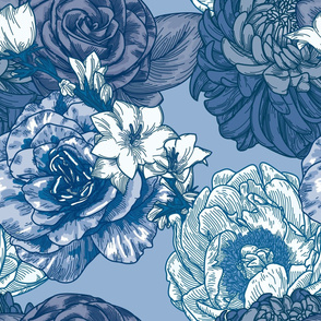 Blue Chintz Large Floral Pattern