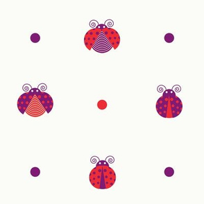 Purple and red ladybugs intercalated with red and purple dots over light yellow background seamless pattern