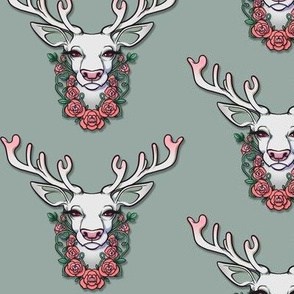 Wintery White Deer