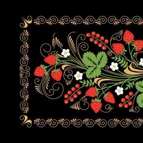 Russian Khokhloma Style Tea Towel