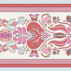 Romance Folk Art Tea Towel