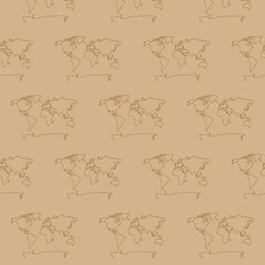 World map- tan brown