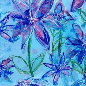 Blue Wildflower Modern Chintz - Jumbo