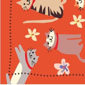 folk cats tea towel
