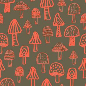 Mushrooms Pink and Gray