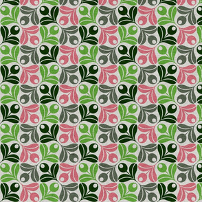 Abstract Olive Flower-pink and green
