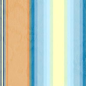 Retro Flame Moire Stripe ~ Orange and Blue