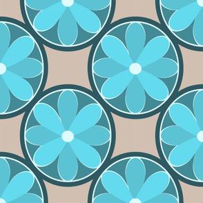 Mod Flowers Blue Hues