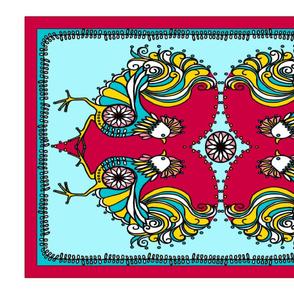Rooster Dance Folk Art Teatowel