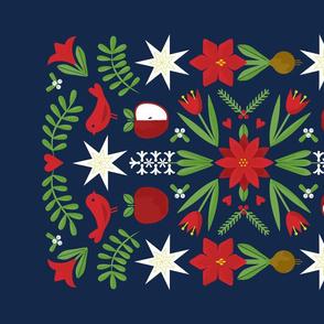 Swedish Christmas Folk Art Tea Towel