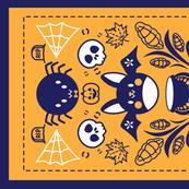 Folk Halloween Tea Towel