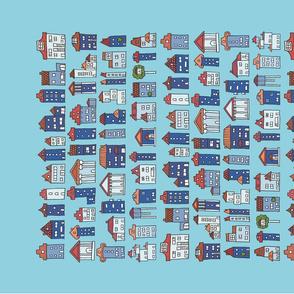 Delft blue inspired tea towel