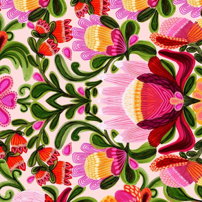 Roccoco Proteas Folk Art Tea Towel