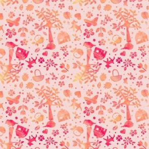 Wonderland garden - peach - small scale