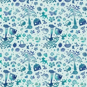 Wonderland garden - turquoise - small scale