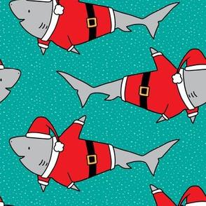 Santa Jaws on Teal - medium scale