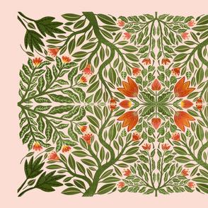 Floral folk art style tea towel