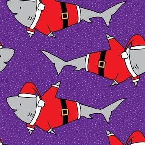 Santa Jaws on Purple - medium scale