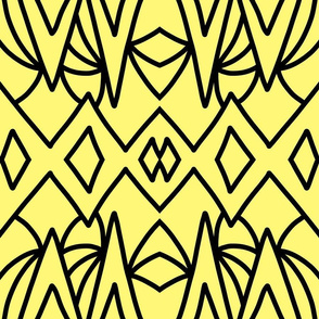 Art Deco Geometric - black on citrus yellow