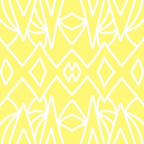 Art Deco Geometric - white on citrus yellow