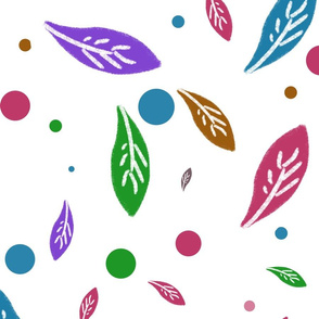 Colorful leaves and dots