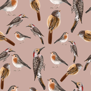Forest birds - with beige background