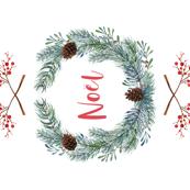 Noël tea towel torchon de cuisine vert rouge