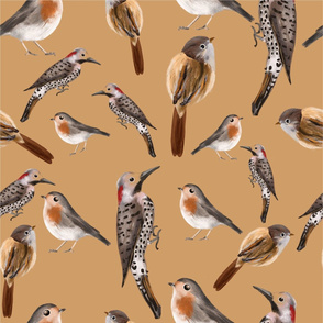 Forest birds - with mustard background