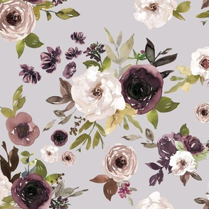 Dusty Plum Florals // Pale Slate