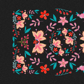 Pink flora folk art